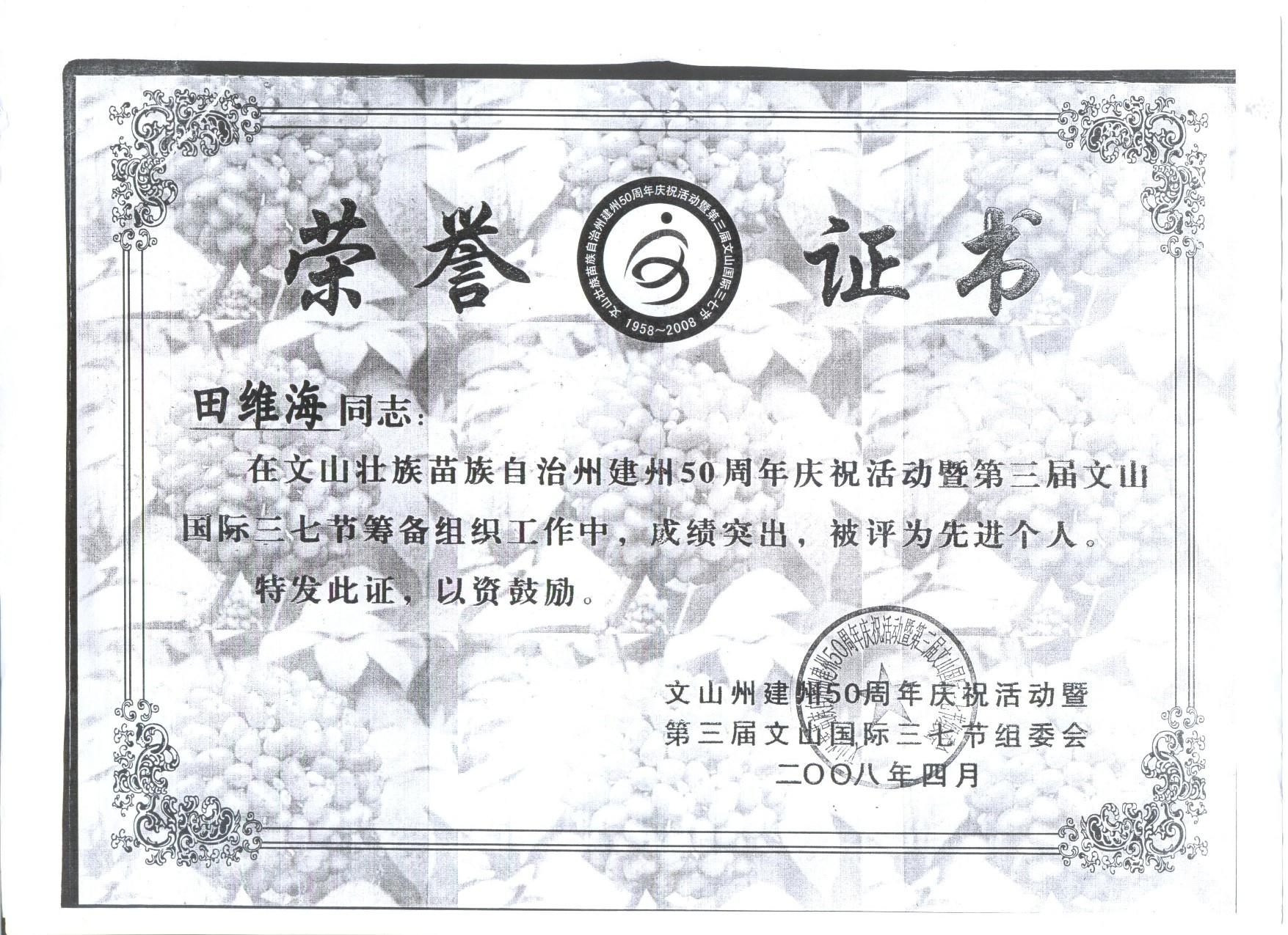 文山国际三七节先进个人